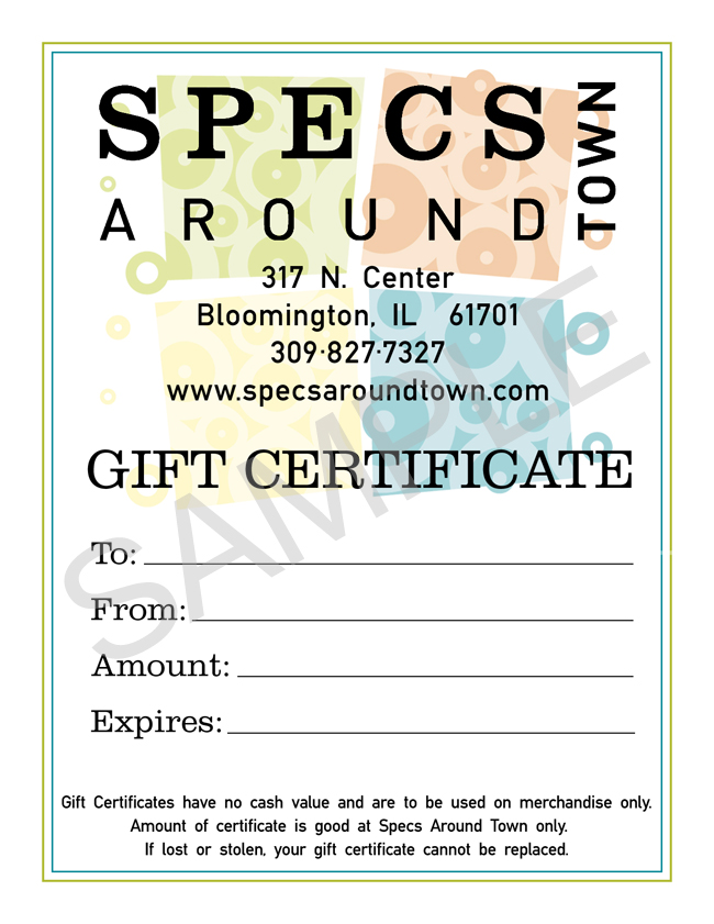 Purchase Gift Certificate | Specs Around Town